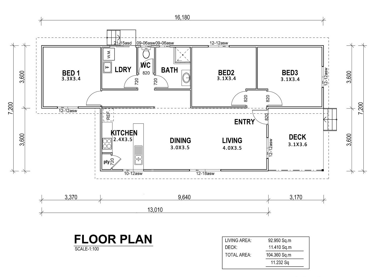 3 Bedroom Kit Home Floor Plan