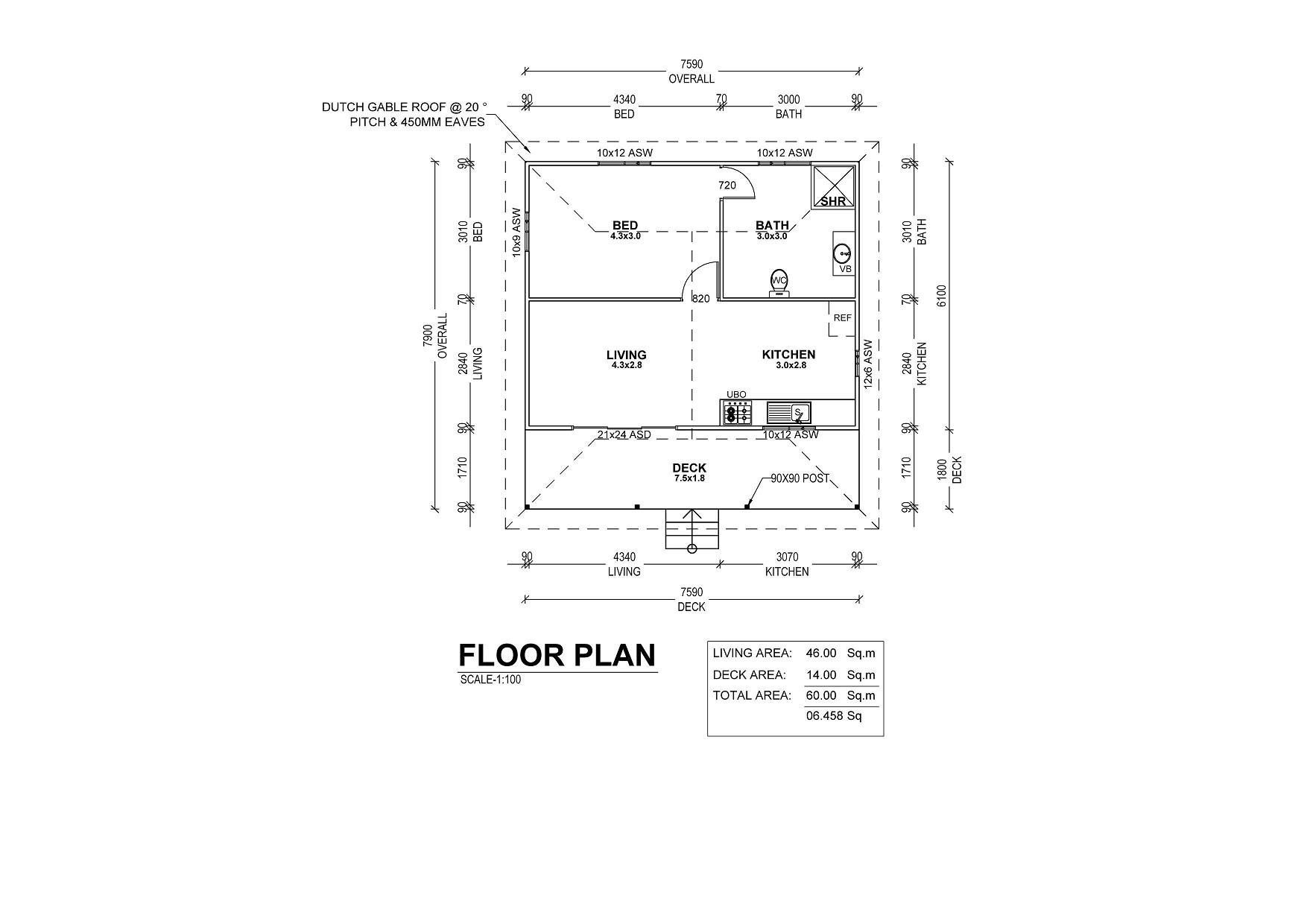 1 Bedroom Kit Home Floor Plan